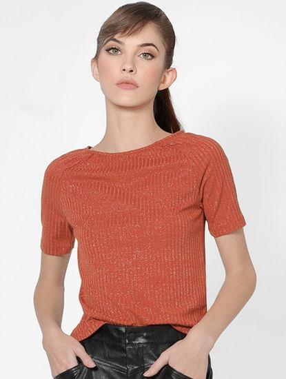 Red Metallic Ribbed Top