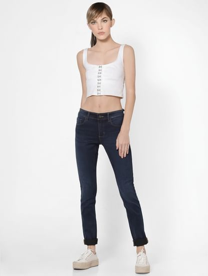 Dark Blue Mid Rise Super Skinny Jeans