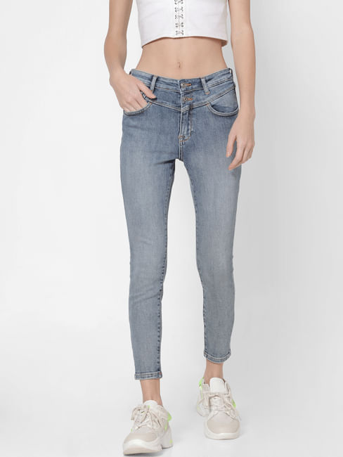 Blue High Rise Washed Skinny Fit Jeans