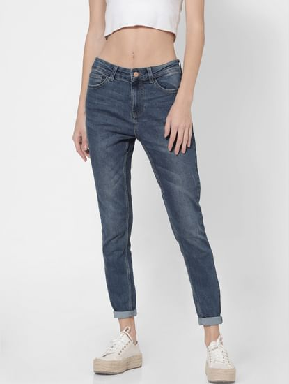 Blue High Rise Washed Skinny Jeans
