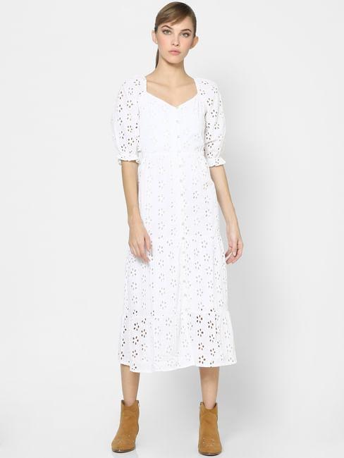 White Schiffli Midi Dress