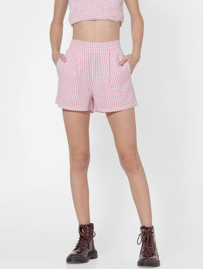 Light Pink Gingham Mid Rise Shorts