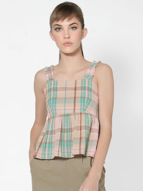 Multi-coloured Check Smocked Top