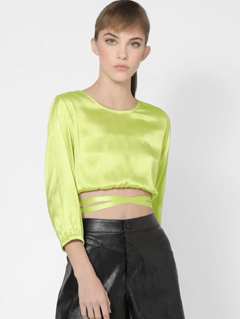 Neon Yellow Criss Cross Band Detail Top