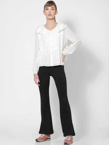 White Schiffli Collared Shirt
