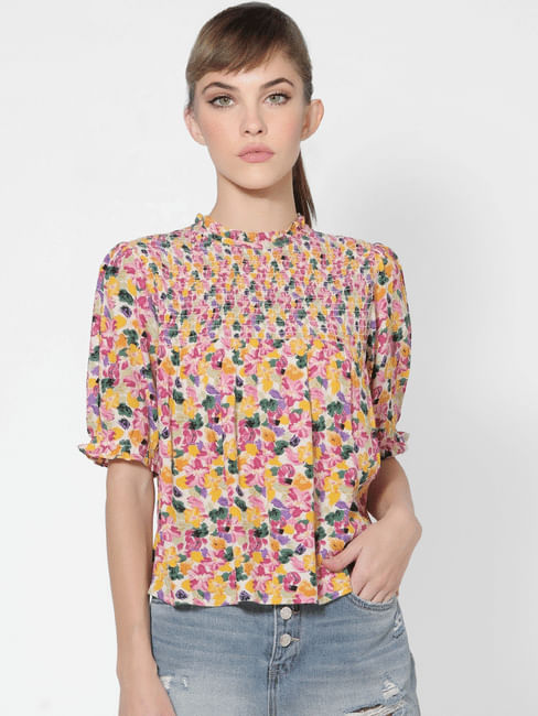Multi-coloured Floral Smocked Top