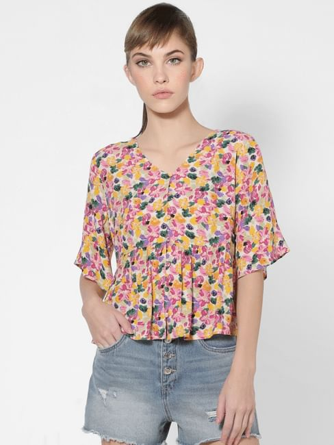 Multi-coloured Floral Flared Top