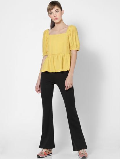 Yellow Puff Sleeves Peplum Top