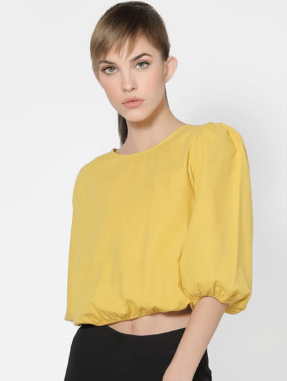 Yellow Puff Sleeves Top