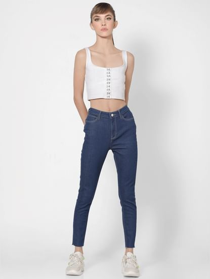Blue Mid Rise Skinny Jeans
