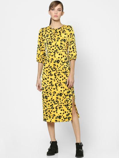 Yellow Leopard Print Midi Dress