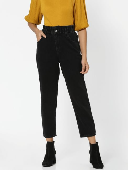 Black High Rise Carrot Fit Jeans