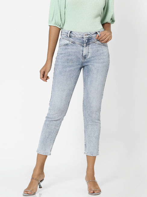 Light Blue Mid Rise Washed Straight Fit Jeans