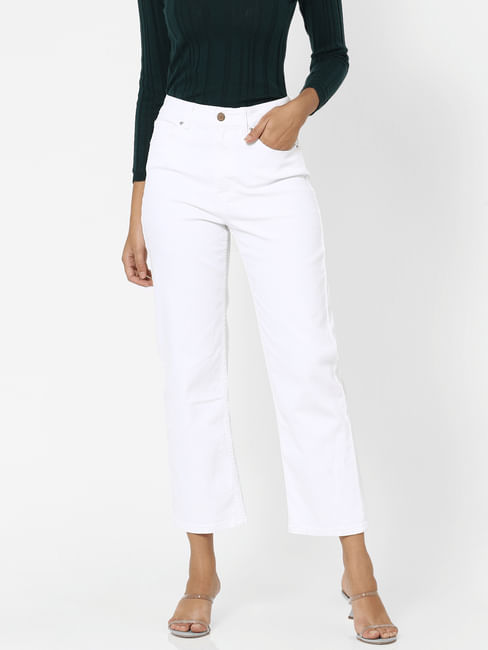 White High Rise Straight Fit Jeans