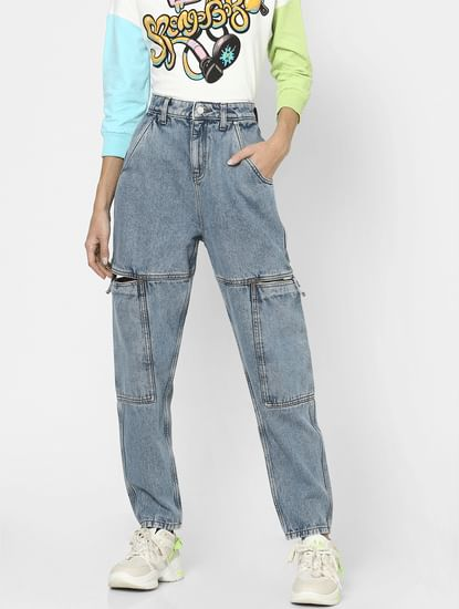 Blue High Rise Anti Fit Baggy Jeans