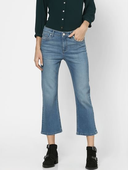 Blue Mid Rise Washed Flared Jeans
