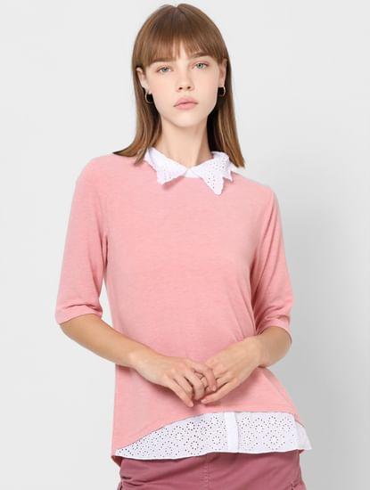 Blush Pink Schiffli Collar Top