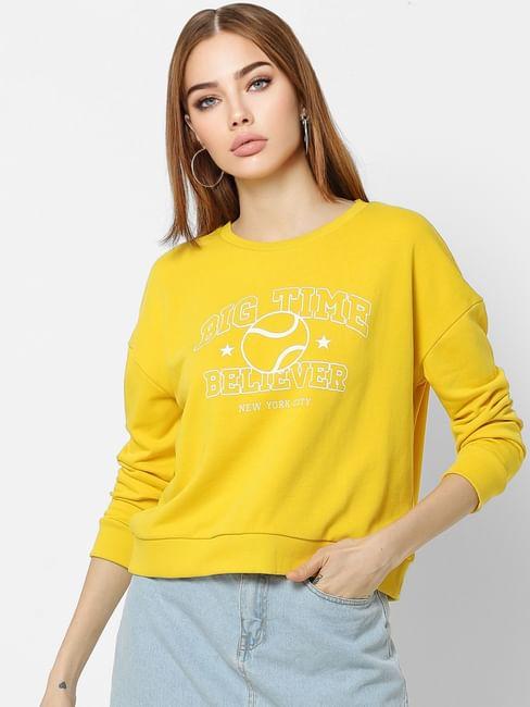 Yellow Slogan Print Sweatshirt