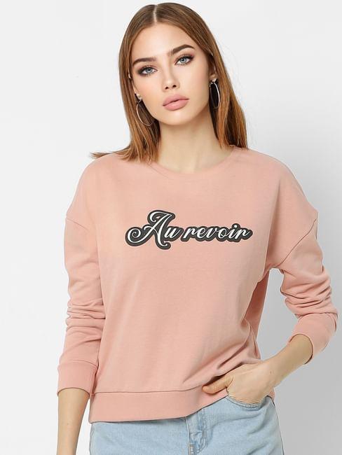 Pink Text Print Sweatshirt