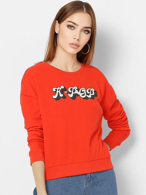 Red K-Pop Print Sweatshirt