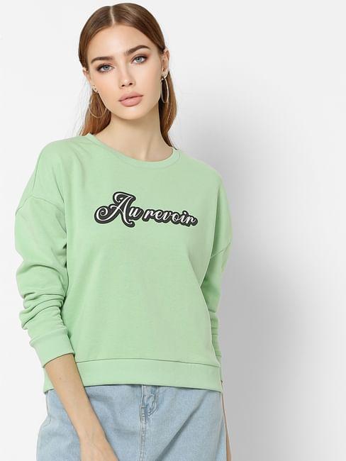 Green Text Print Sweatshirt