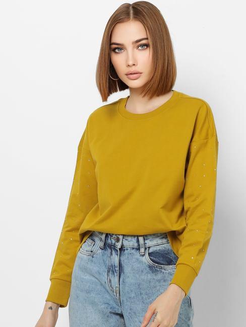 Mustard Embellished Sleeves Sweatshirt