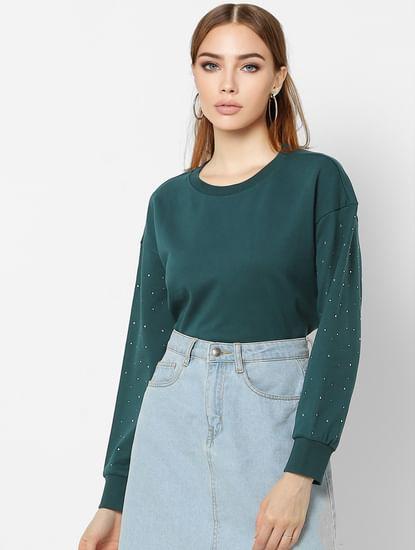 Green Embellished Sleeves Sweatshirt