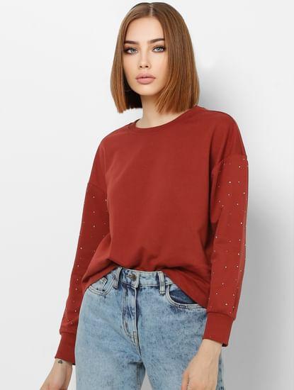 Rust Embellished Sleeves Sweatshirt