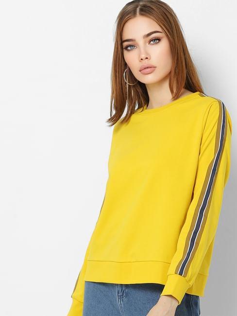Yellow Tape Detail Sweatshirt