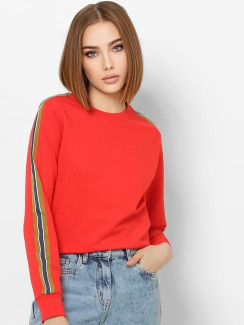 Red Tape Detail Sweatshirt
