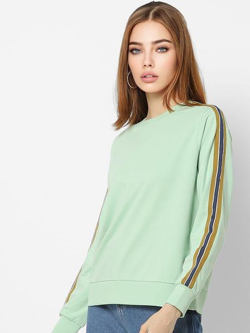 Light Green Tape Detail Sweatshirt