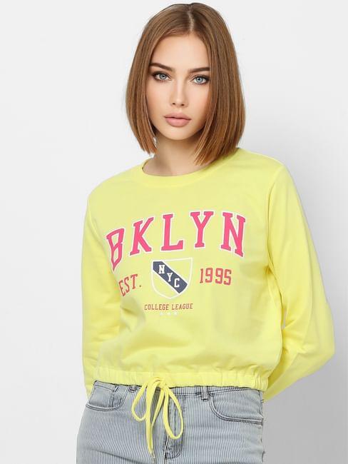 Yellow Text Print Front Tie Sweatshirt