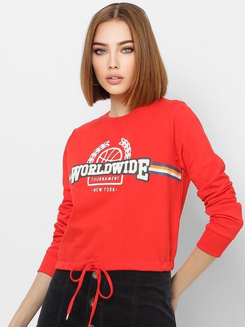 Red Text Print Front Tie Sweatshirt