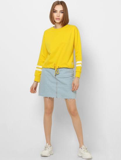 Yellow Striped Sleeves Sweatshirt