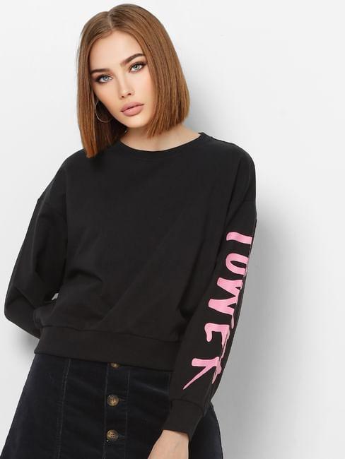 Black Sleeve Print Sweatshirt