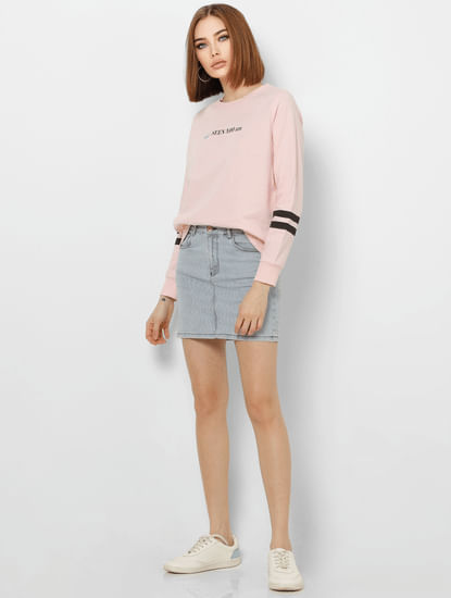 Light Pink Slogan Print Sweatshirt