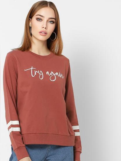 Rust Slogan Print Sweatshirt