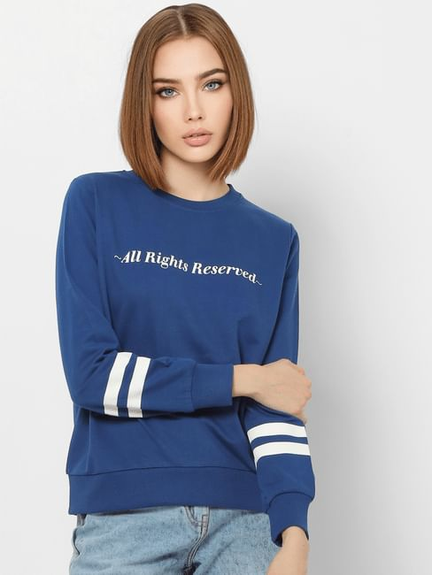 Blue Slogan Print Sweatshirt