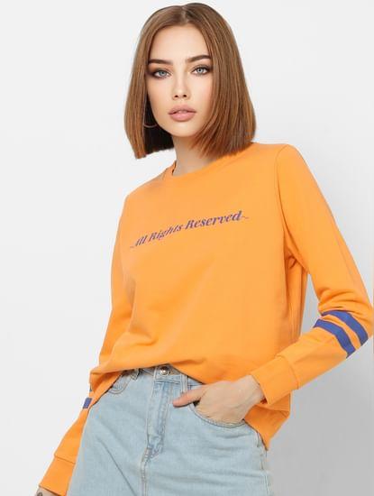 Orange Slogan Print Sweatshirt