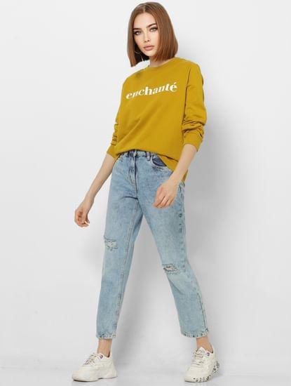 Mustard Text Print Sweatshirt