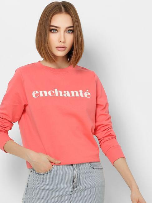 Coral Text Print Sweatshirt