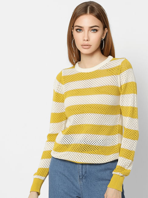 Yellow Knit Striped Pullover