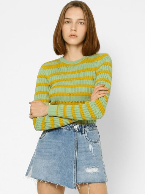 Yellow Striped Textured Pullover