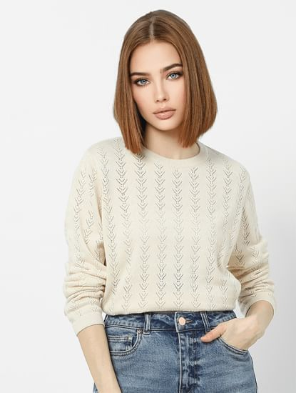 Beige Textured Knit Drop Shoulder Pullover