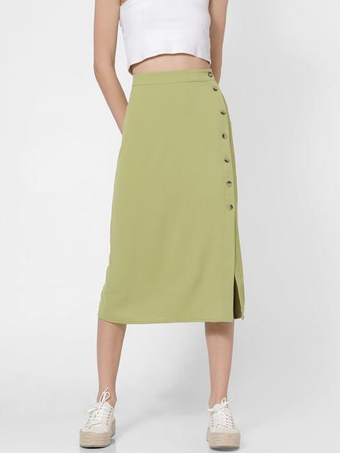 Green High Waist Midi Skirt