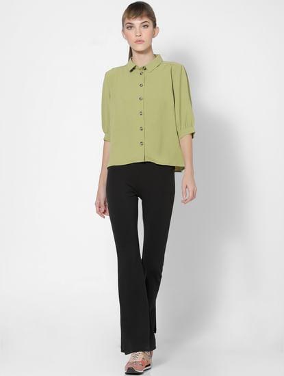 Green Crinkled Shirt