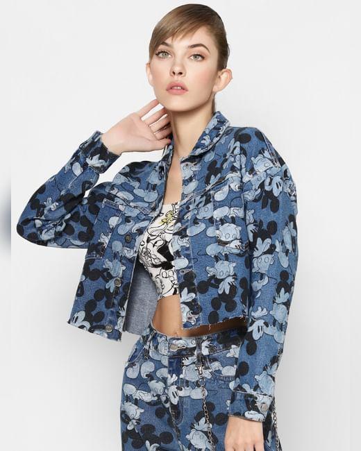 X MICKEY Blue Graphic Denim Jacket