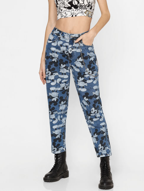 X MICKEY Blue High Rise Graphic Print Jeans
