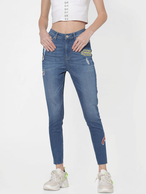Blue Mid Rise Patch Print Distressed Skinny Jeans
