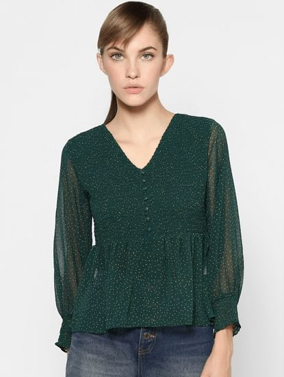 Green All Over Print Smocked Top